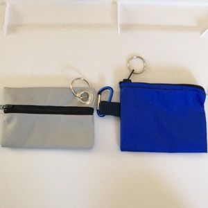 Set of 2 Waterproof Zip Pouches, Keyring, Clip